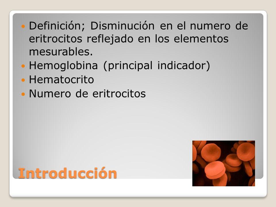 Definición; Disminución en el numero de eritrocitos reflejado en los elementos mesurables.