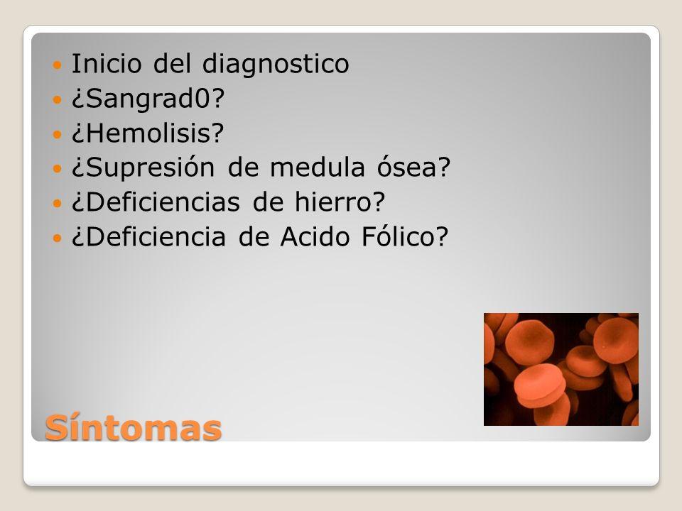 Síntomas Inicio del diagnostico ¿Sangrad0 ¿Hemolisis