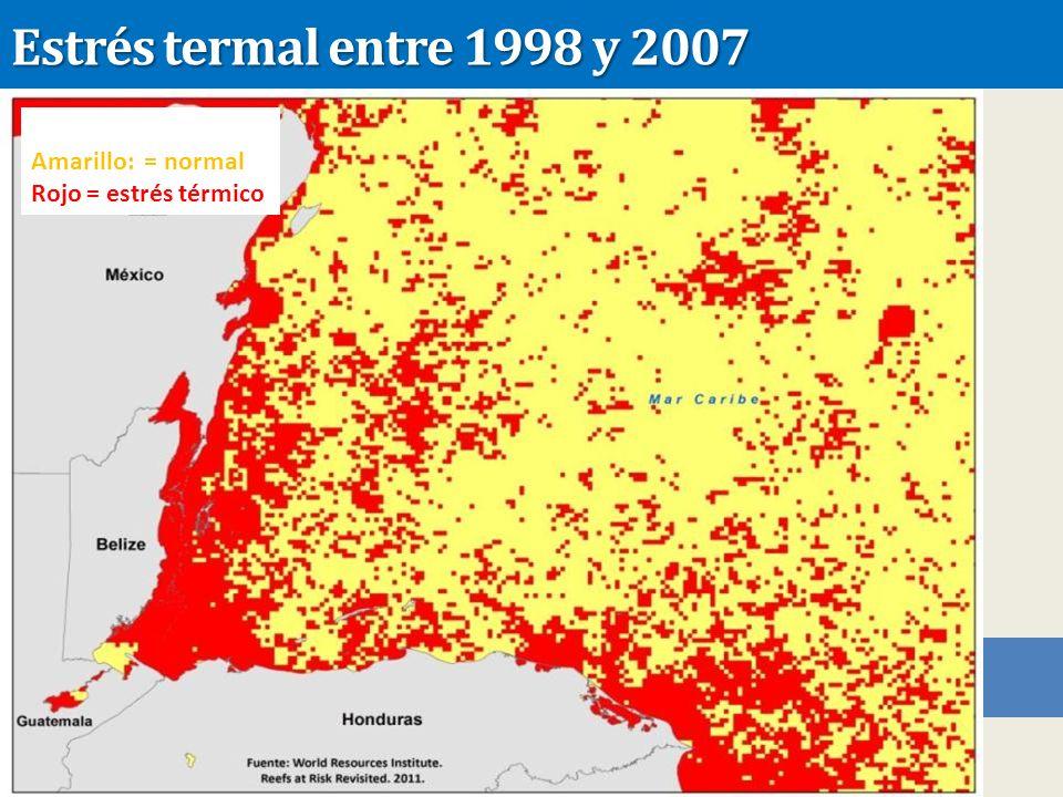 Estrés termal entre 1998 y 2007 Amarillo: = normal