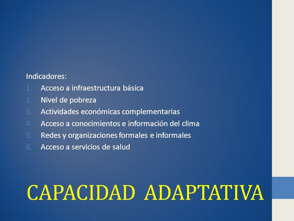 Capacidad adaptativa Indicadores: Acceso a infraestructura básica