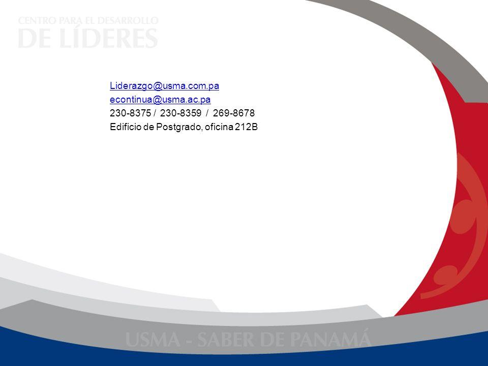 Liderazgo@usma.com.pa econtinua@usma.ac.pa. 230-8375 / 230-8359 / 269-8678.
