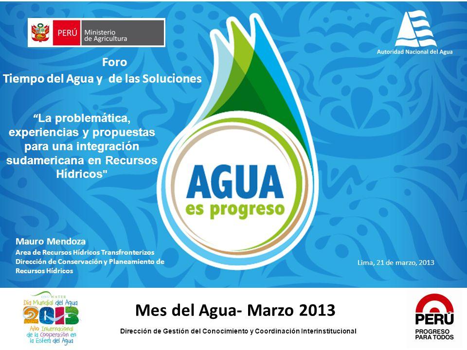 Mes del Agua- Marzo 2013 Foro Tiempo del Agua y de las Soluciones