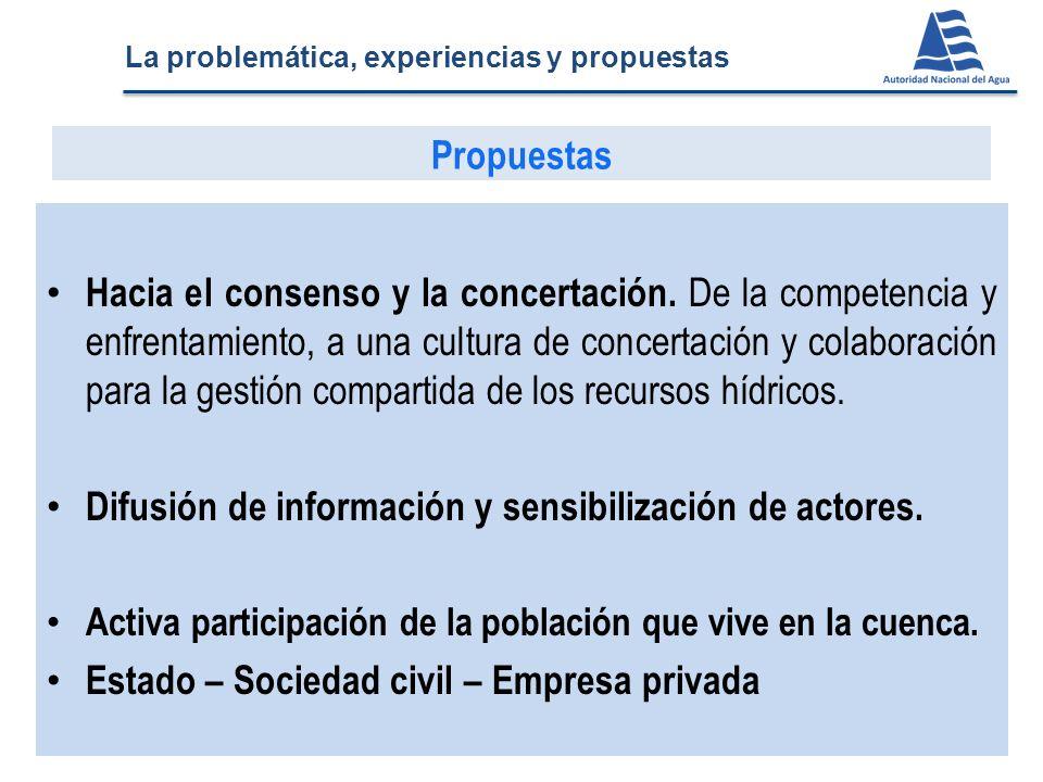 Difusión de información y sensibilización de actores.