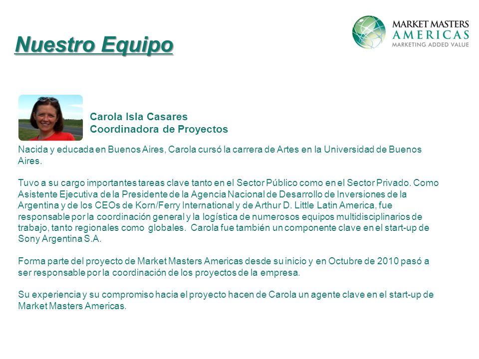 Nuestro Equipo Carola Isla Casares Coordinadora de Proyectos