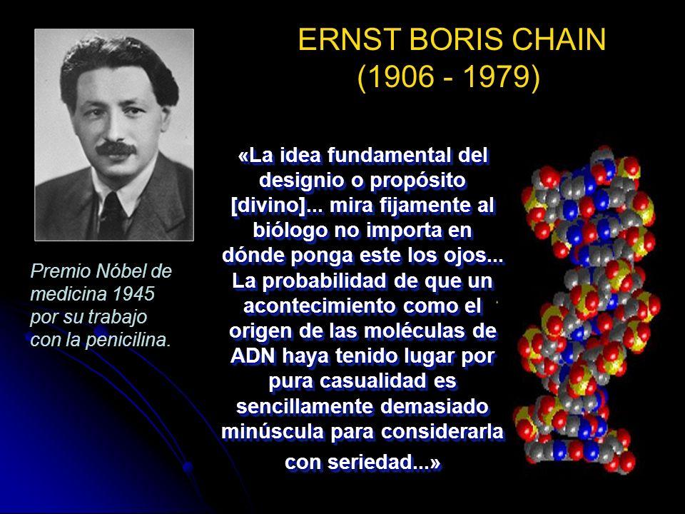 ERNST BORIS CHAIN (1906 - 1979) Premio Nóbel de medicina 1945 por su trabajo con la penicilina.