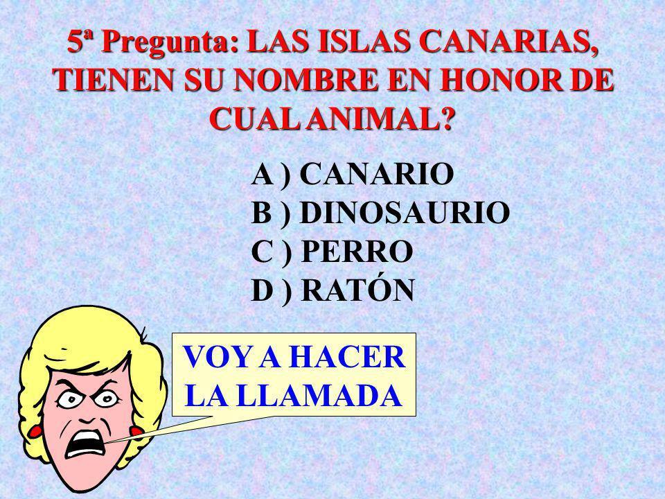 5ª Pregunta: LAS ISLAS CANARIAS, TIENEN SU NOMBRE EN HONOR DE CUAL ANIMAL