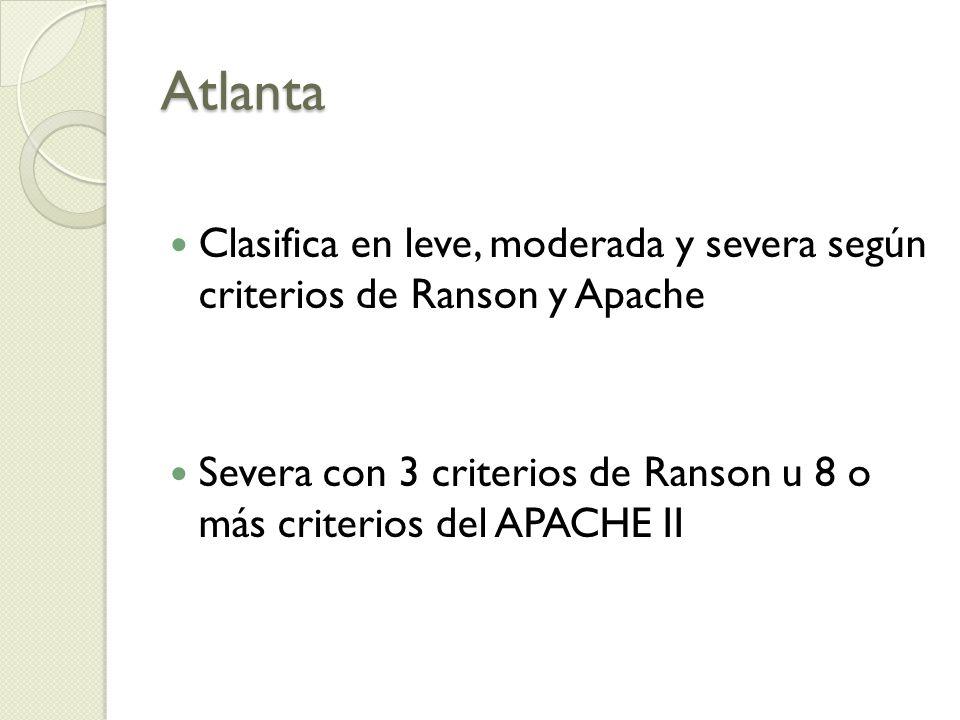 Atlanta Clasifica en leve, moderada y severa según criterios de Ranson y Apache.