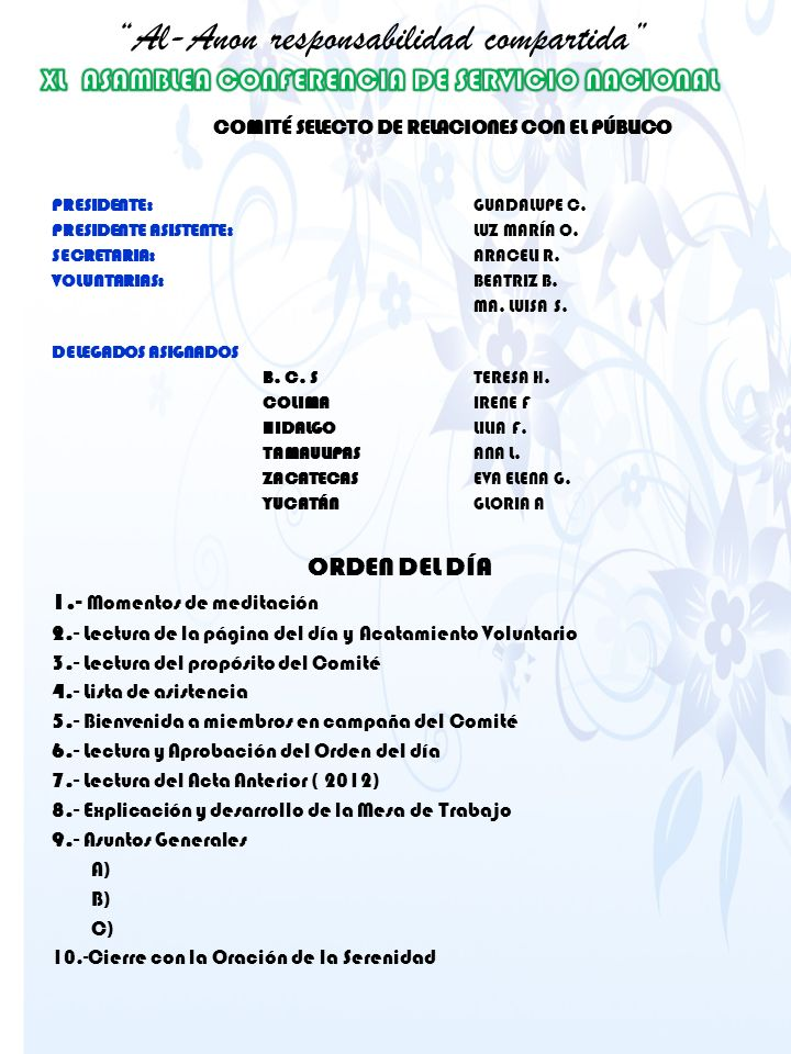 COMITÉ SELECTO DE RELACIONES CON EL PÚBLICO