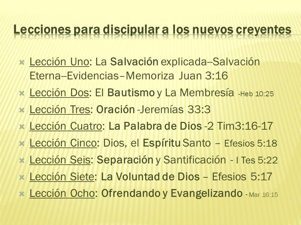 Lecciones para discipular a los nuevos creyentes