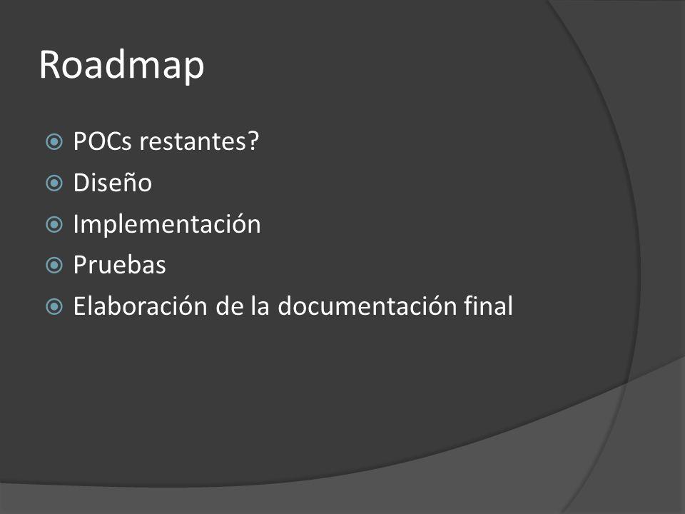 Roadmap POCs restantes Diseño Implementación Pruebas