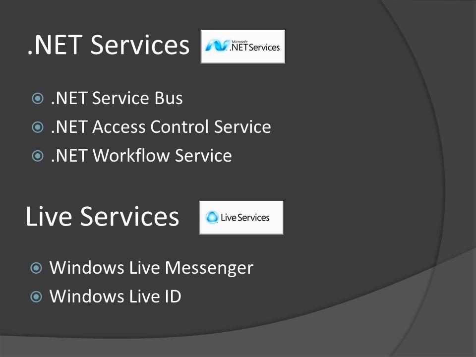 .NET Services Live Services .NET Service Bus