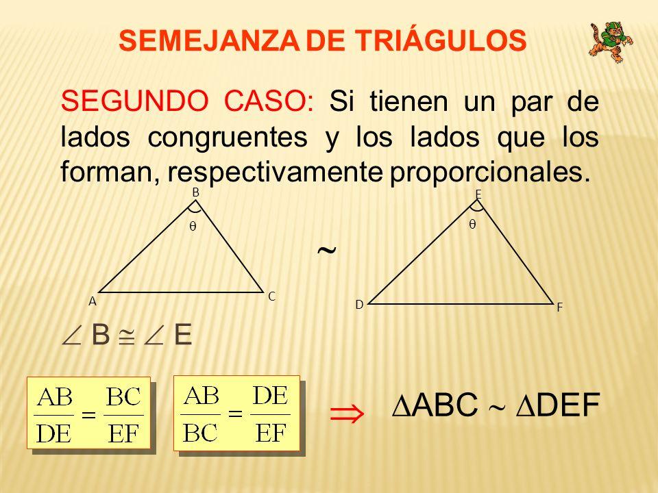   ABC  DEF SEMEJANZA DE TRIÁGULOS