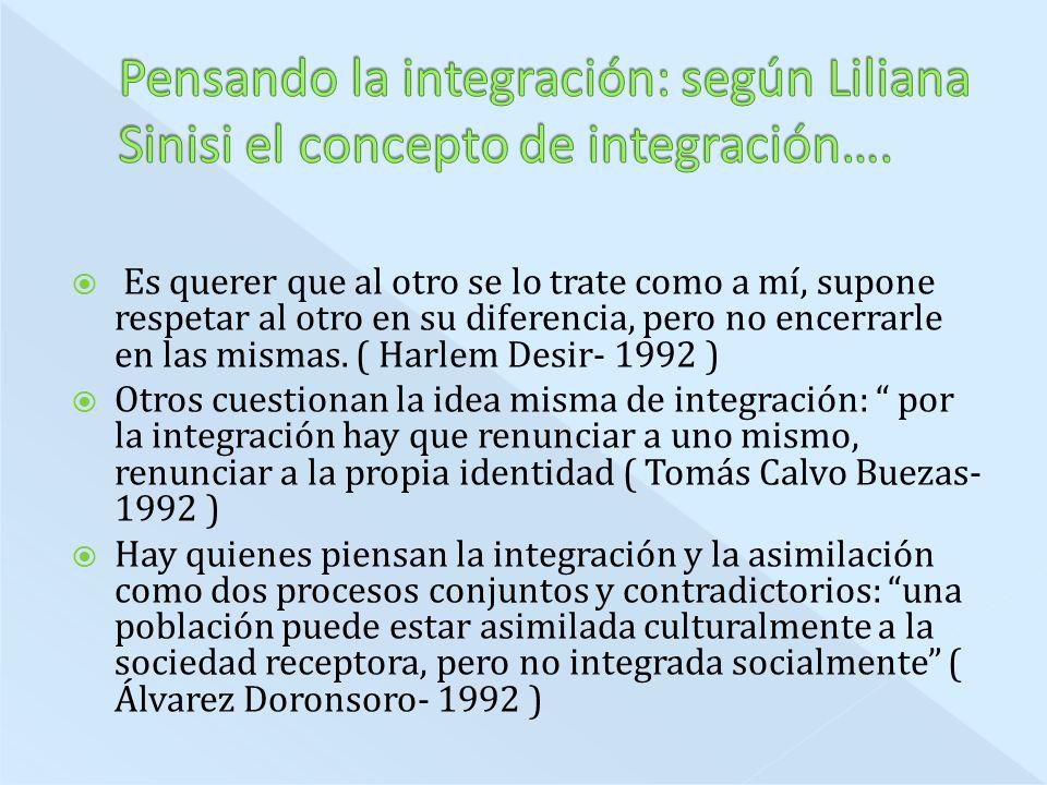 Pensando la integración: según Liliana Sinisi el concepto de integración….
