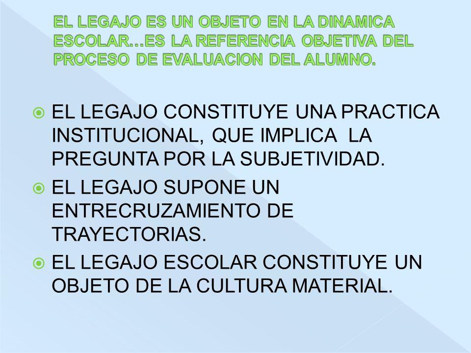 EL LEGAJO SUPONE UN ENTRECRUZAMIENTO DE TRAYECTORIAS.