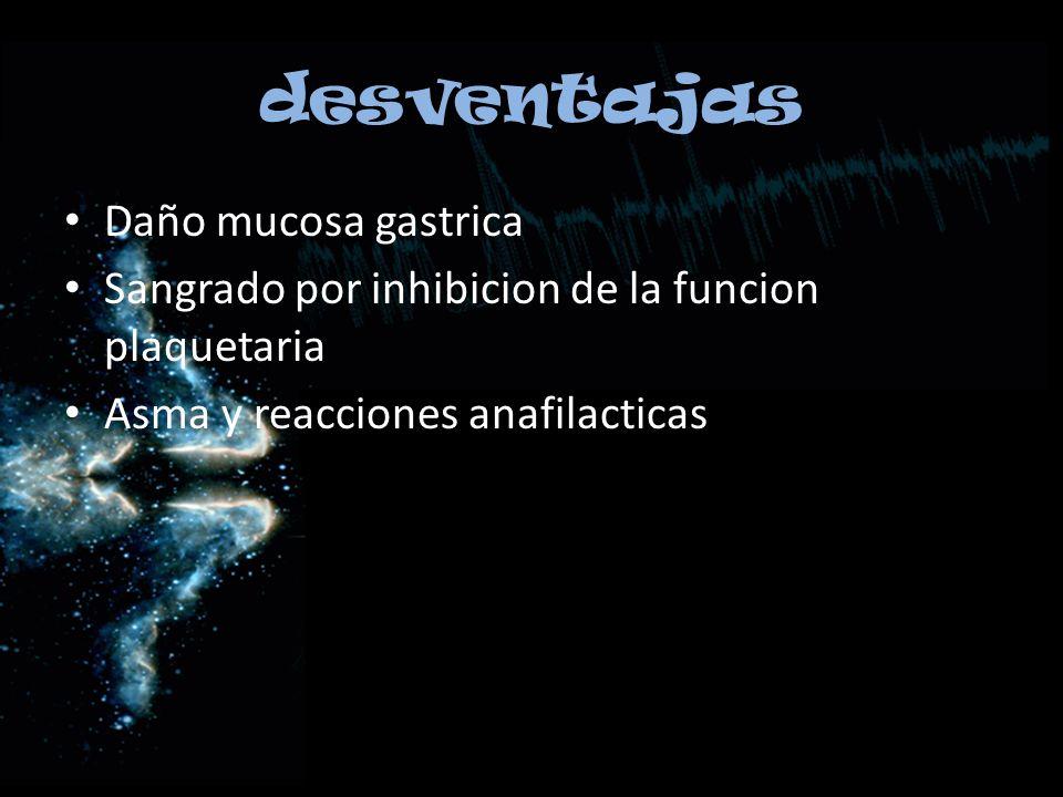 desventajas Daño mucosa gastrica
