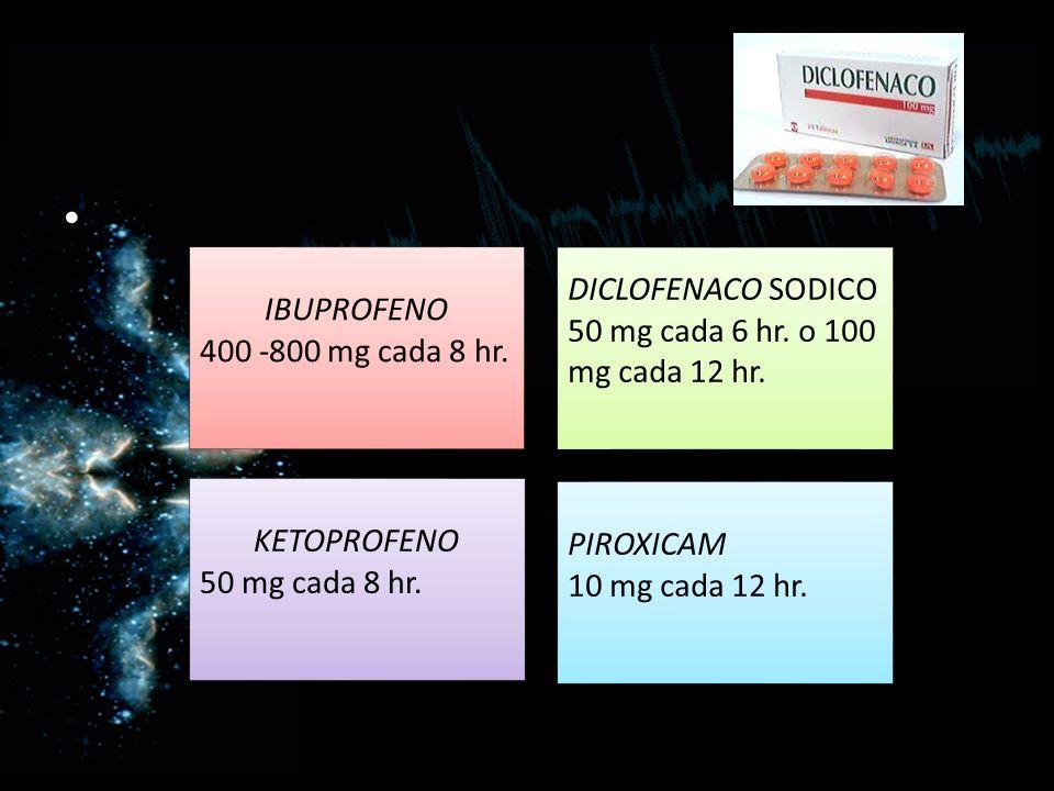 DICLOFENACO SODICO 50 mg cada 6 hr. o 100 mg cada 12 hr. IBUPROFENO