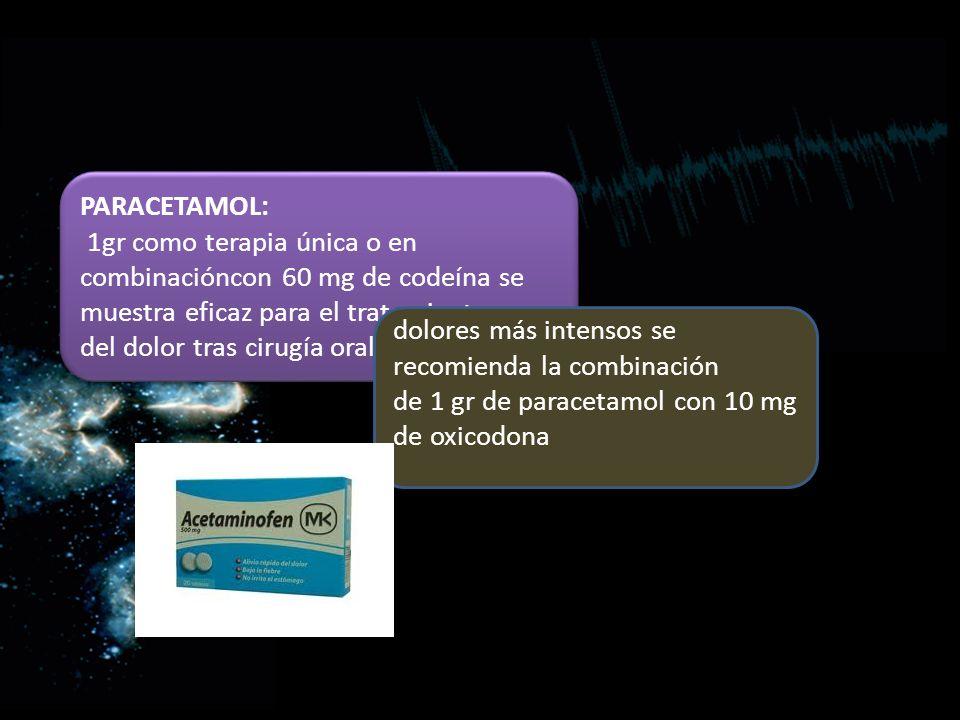 PARACETAMOL: 1gr como terapia única o en combinacióncon 60 mg de codeína se muestra eficaz para el tratamiento.