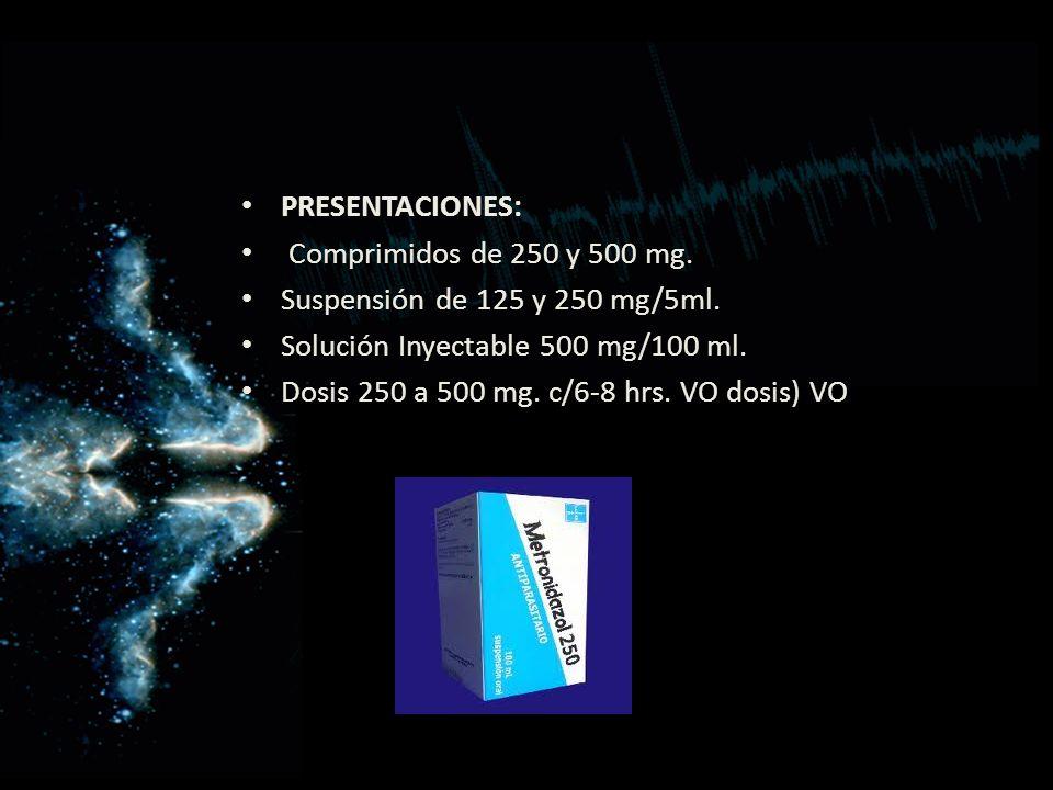 PRESENTACIONES: Comprimidos de 250 y 500 mg. Suspensión de 125 y 250 mg/5ml. Solución Inyectable 500 mg/100 ml.
