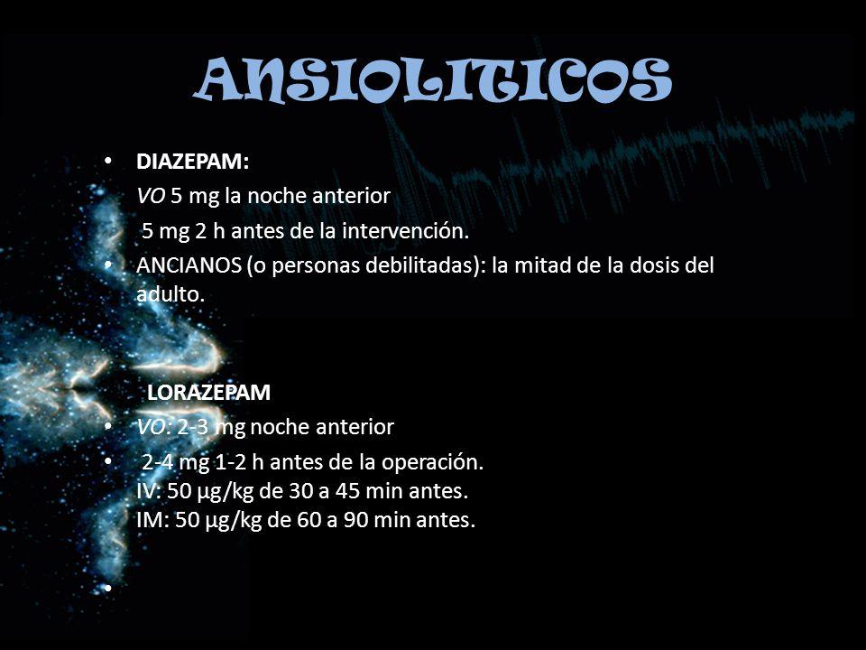 ANSIOLITICOS DIAZEPAM: VO 5 mg la noche anterior
