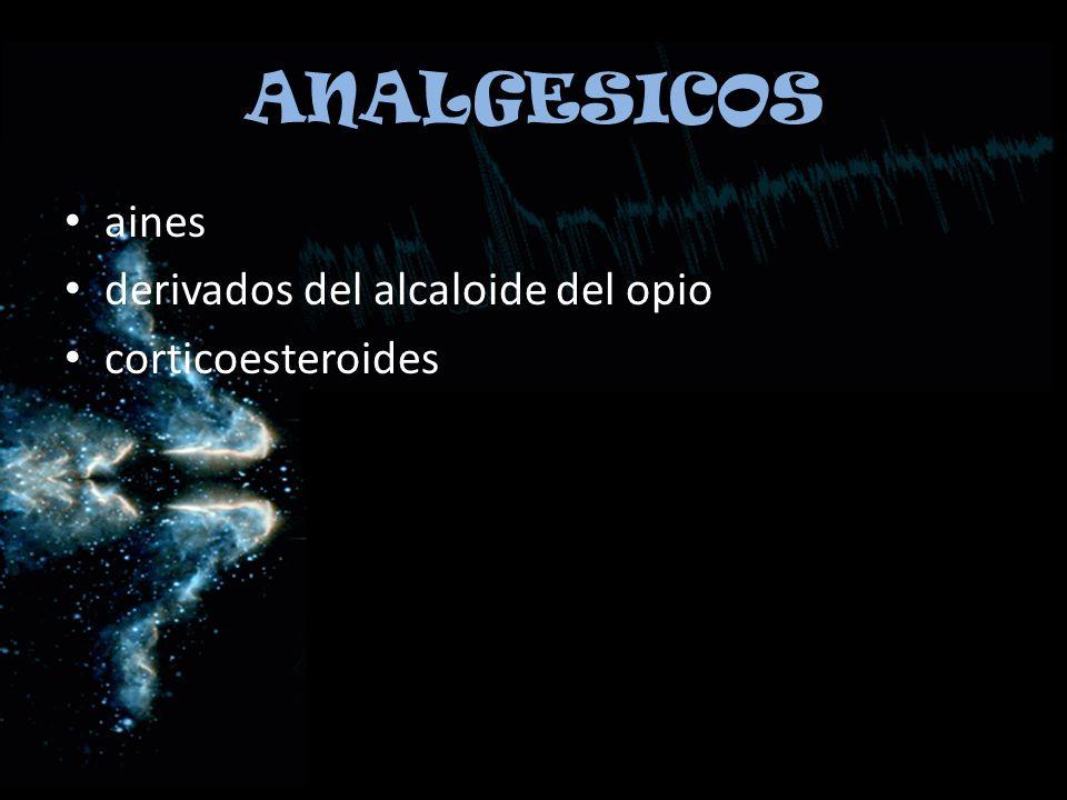 ANALGESICOS aines derivados del alcaloide del opio corticoesteroides