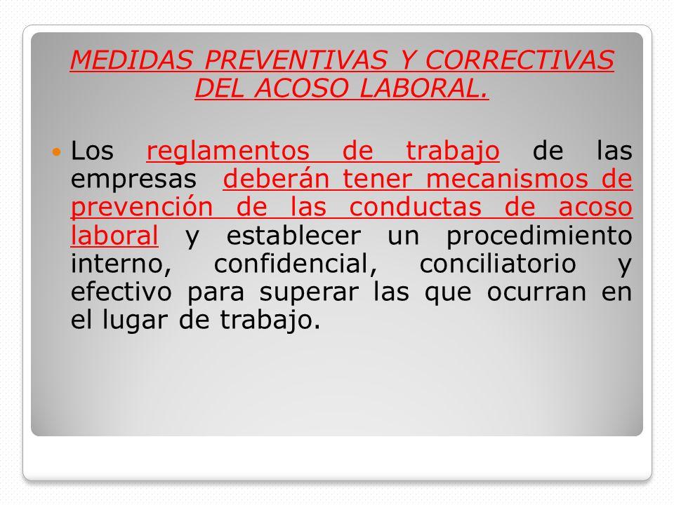 MEDIDAS PREVENTIVAS Y CORRECTIVAS DEL ACOSO LABORAL.
