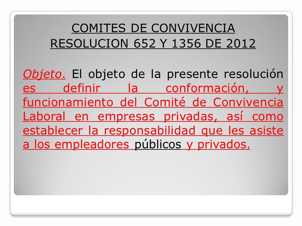 COMITES DE CONVIVENCIA RESOLUCION 652 Y 1356 DE 2012 Objeto