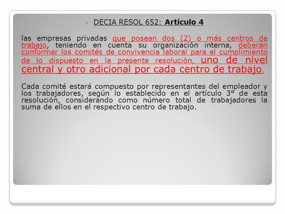 DECIA RESOL 652: Artículo 4