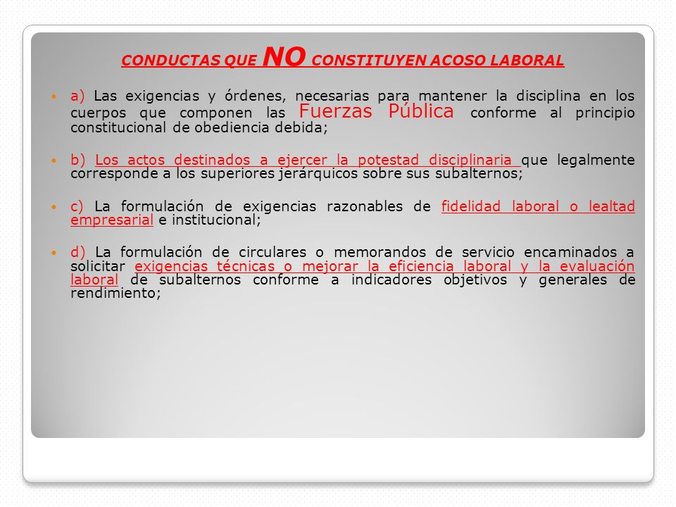 CONDUCTAS QUE NO CONSTITUYEN ACOSO LABORAL