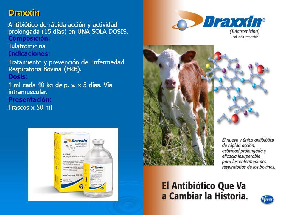 Draxxin Antibiótico de rápida acción y actividad prolongada (15 días) en UNA SOLA DOSIS. Composición:
