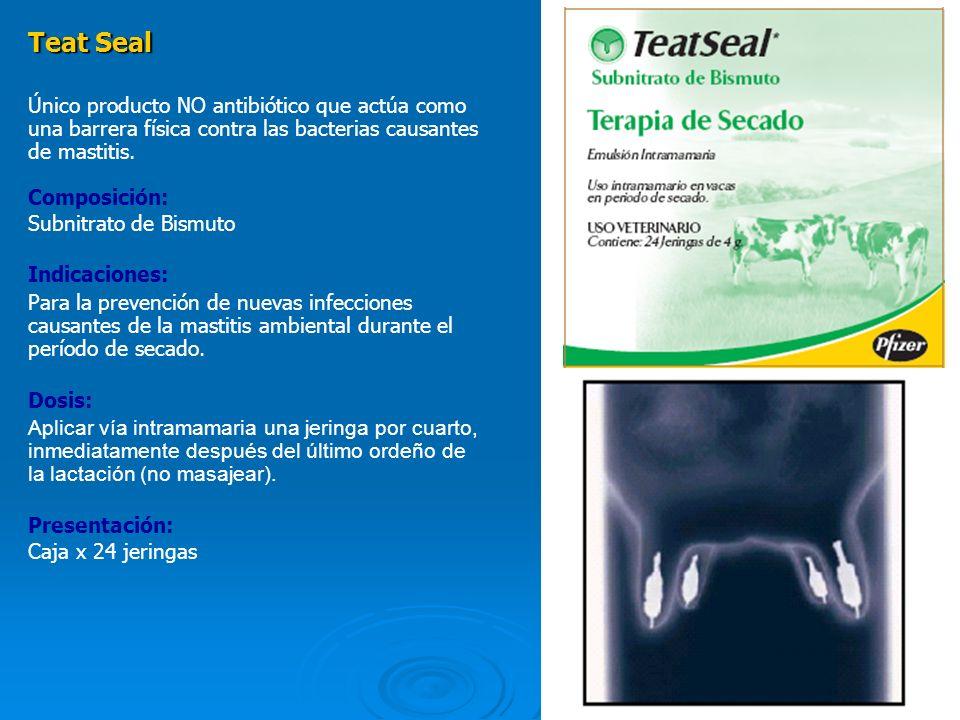 Teat Seal Único producto NO antibiótico que actúa como una barrera física contra las bacterias causantes de mastitis.