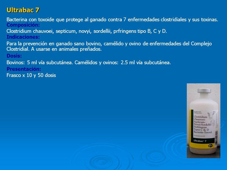 Ultrabac 7 Bacterina con toxoide que protege al ganado contra 7 enfermedades clostridiales y sus toxinas.