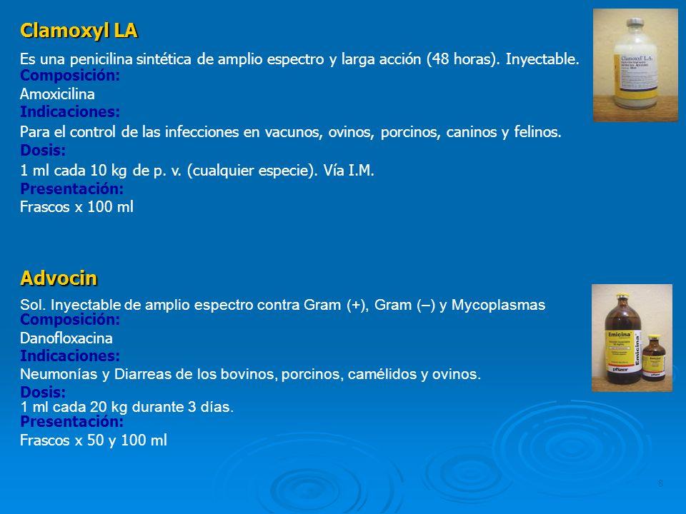 Clamoxyl LA Es una penicilina sintética de amplio espectro y larga acción (48 horas). Inyectable. Composición: