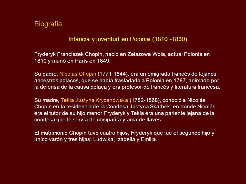 Infancia y juventud en Polonia (1810 -1830)