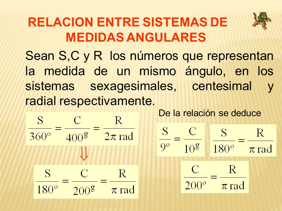 RELACION ENTRE SISTEMAS DE MEDIDAS ANGULARES