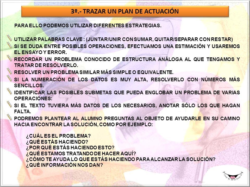 3º.- TRAZAR UN PLAN DE ACTUACIÓN