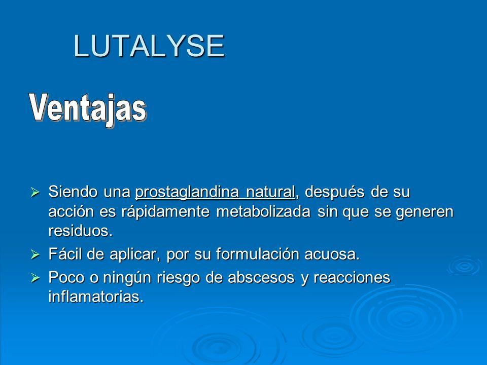 LUTALYSE Ventajas. Siendo una prostaglandina natural, después de su acción es rápidamente metabolizada sin que se generen residuos.