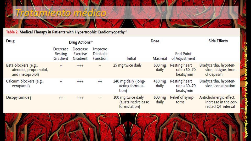 Tratamiento médico Hypertrofic Cardiomyopathy. N Engl M Med 2004;350:1320-7.