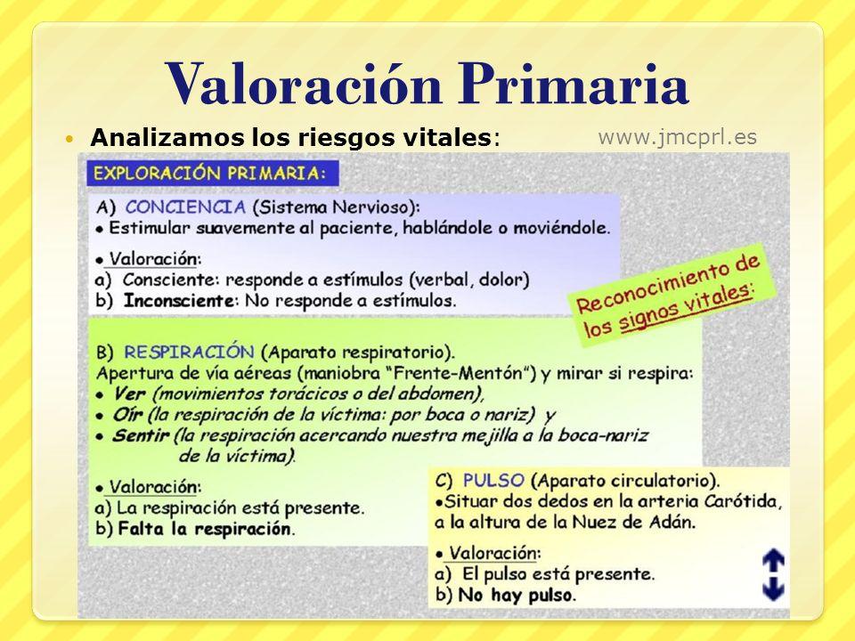 Valoración Primaria Analizamos los riesgos vitales: www.jmcprl.es 26