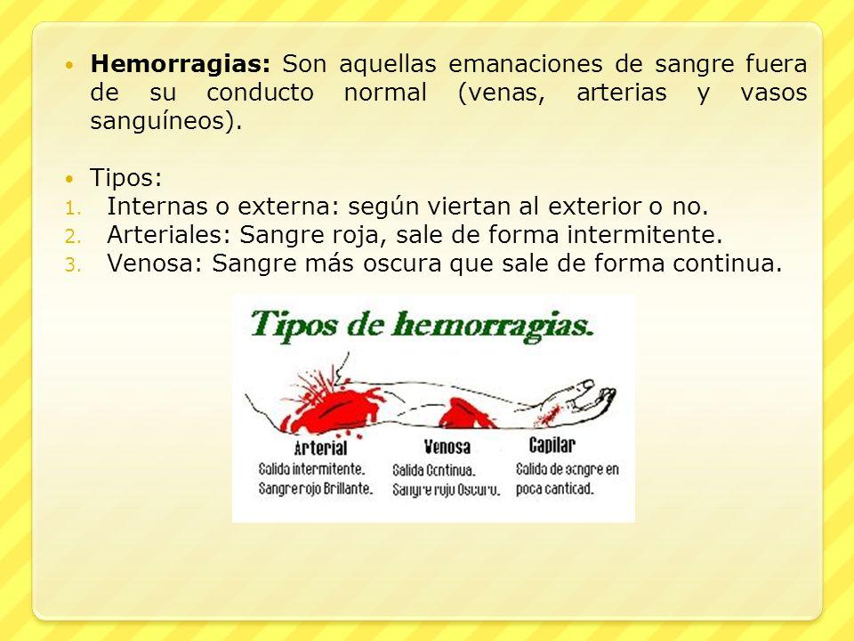 Hemorragias: Son aquellas emanaciones de sangre fuera de su conducto normal (venas, arterias y vasos sanguíneos).