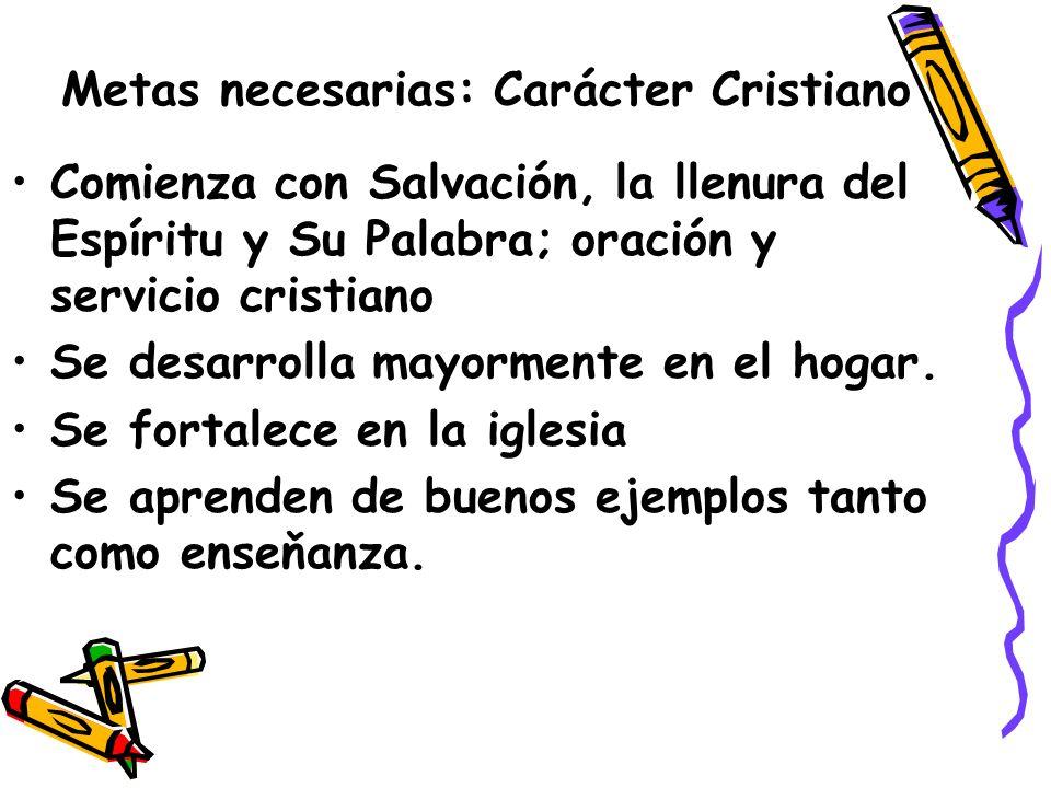 Metas necesarias: Carácter Cristiano
