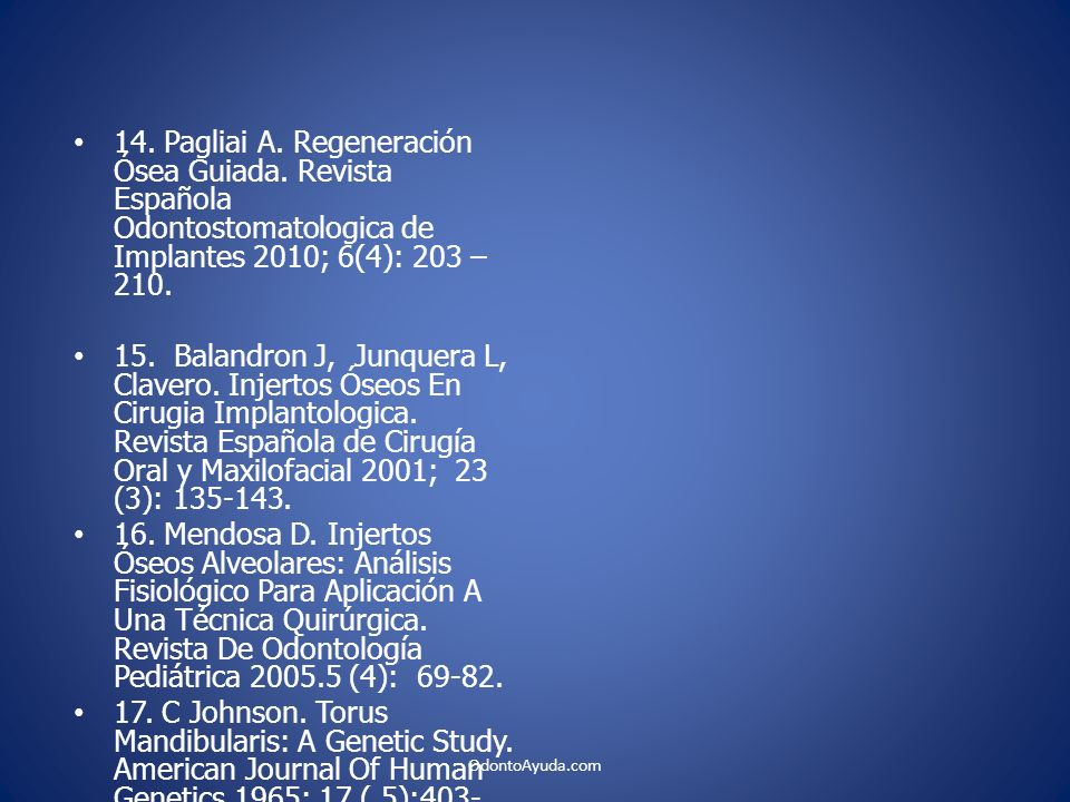 14. Pagliai A. Regeneración Ósea Guiada. Revista Española Odontostomatologica de Implantes 2010; 6(4): 203 – 210.