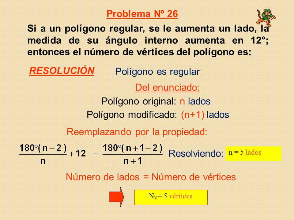 Polígono original: n lados Polígono modificado: (n+1) lados