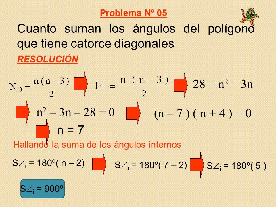 Cuanto suman los ángulos del polígono que tiene catorce diagonales