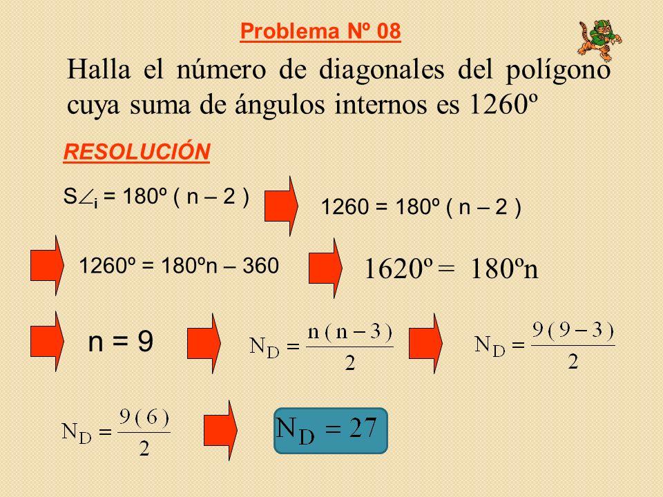 Problema Nº 08 Halla el número de diagonales del polígono cuya suma de ángulos internos es 1260º. RESOLUCIÓN.
