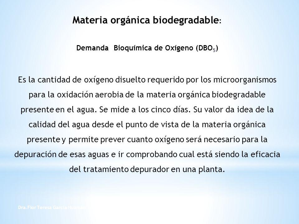 Materia orgánica biodegradable: Demanda Bioquímica de Oxígeno (DBO5) Es la cantidad de oxígeno disuelto requerido por los microorganismos para la oxidación aerobia de la materia orgánica biodegradable presente en el agua. Se mide a los cinco días. Su valor da idea de la calidad del agua desde el punto de vista de la materia orgánica presente y permite prever cuanto oxígeno será necesario para la depuración de esas aguas e ir comprobando cual está siendo la eficacia del tratamiento depurador en una planta.