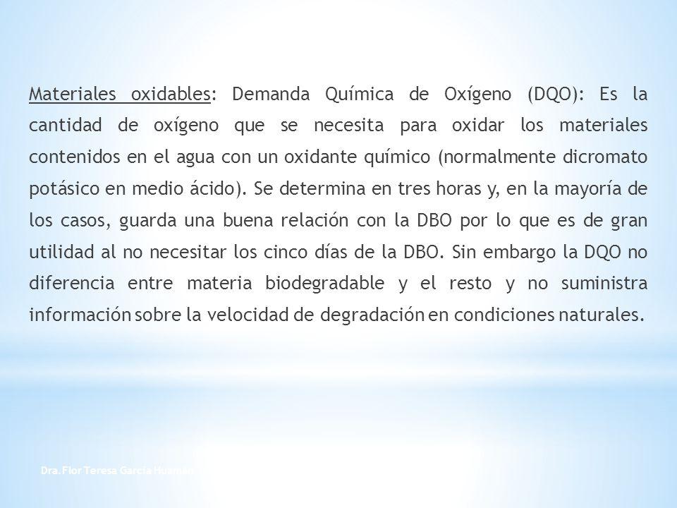 Materiales oxidables: Demanda Química de Oxígeno (DQO): Es la cantidad de oxígeno que se necesita para oxidar los materiales contenidos en el agua con un oxidante químico (normalmente dicromato potásico en medio ácido). Se determina en tres horas y, en la mayoría de los casos, guarda una buena relación con la DBO por lo que es de gran utilidad al no necesitar los cinco días de la DBO. Sin embargo la DQO no diferencia entre materia biodegradable y el resto y no suministra información sobre la velocidad de degradación en condiciones naturales.