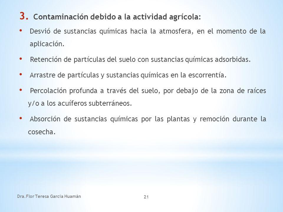 Contaminación debido a la actividad agrícola: