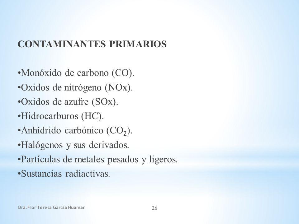 CONTAMINANTES PRIMARIOS •Monóxido de carbono (CO).