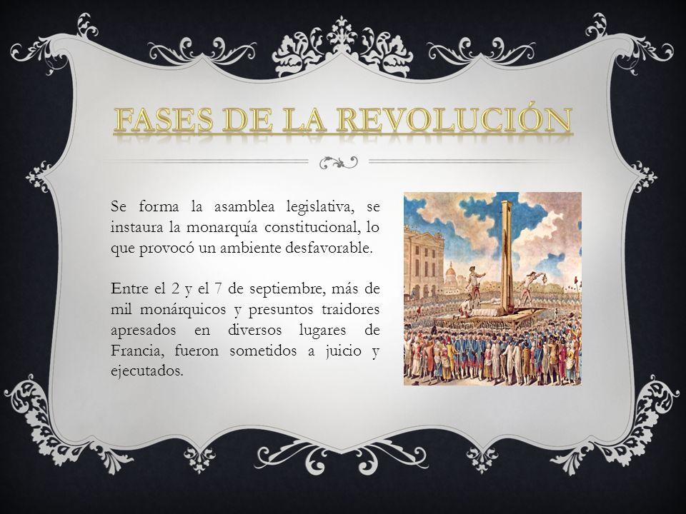 Fases de la Revolución Se forma la asamblea legislativa, se instaura la monarquía constitucional, lo que provocó un ambiente desfavorable.