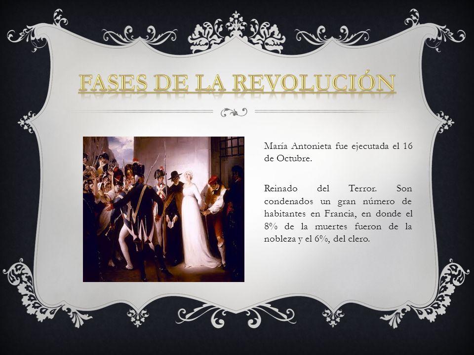 Fases de la Revolución María Antonieta fue ejecutada el 16 de Octubre.